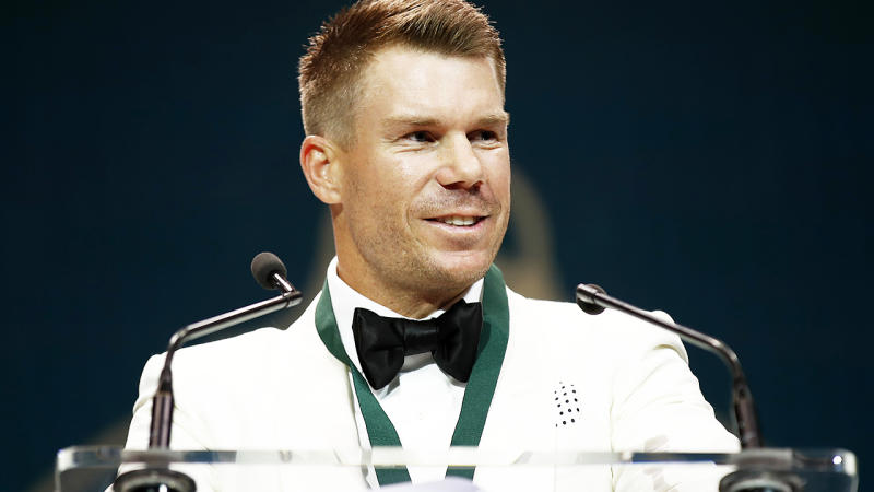 David Warner, pictured here during his emotional speech after winning the Allan Border Medal.