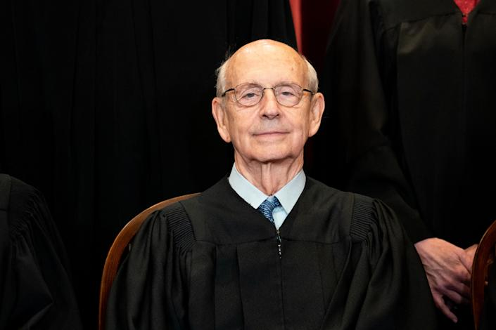 Associate Justice Stephen Breyer sits during a group photo of the Justices at the Supreme Court in Washington, DC on April 23, 2021. (Erin Schaff/AFP via Getty Images)