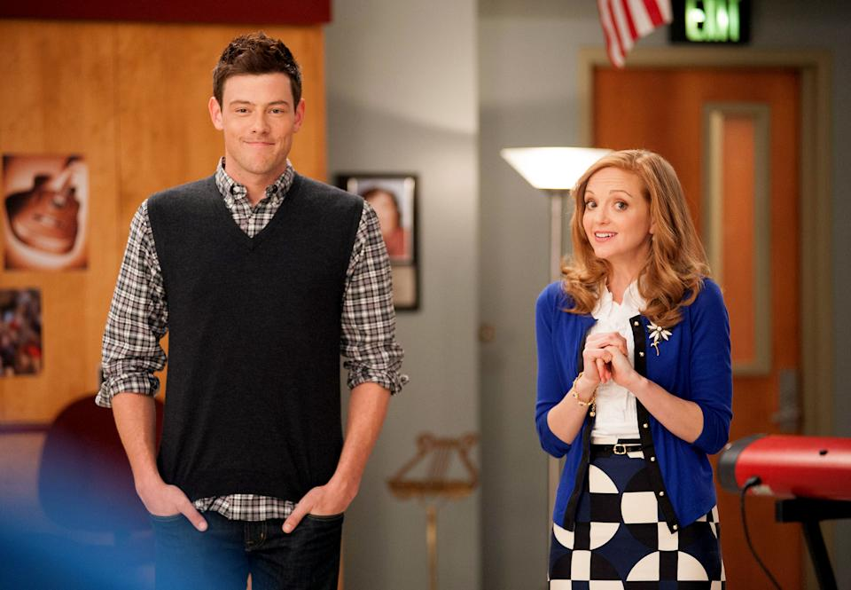 GLEE: Cory Monteith as 'Finn' (L) and Jayma Mays as 'Emma' on Season Four of GLEE airing Thursday, February 7, 2013 (9:00-10:00 PM ET/PT) on FOX.