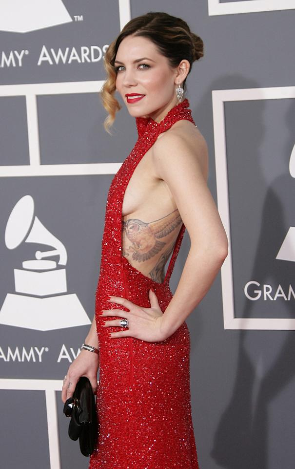 Celebs with side boob: Skylar Grey flashed side boob at the Grammys in 2013. Copyright [WENN]