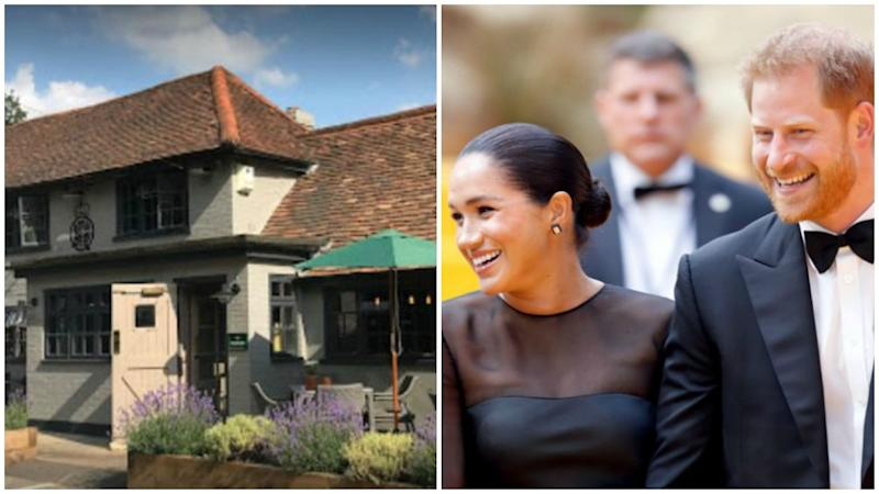 Meghan and Harry have enjoyed a low-key night out. Photo: Getty/ The Rose & Crown