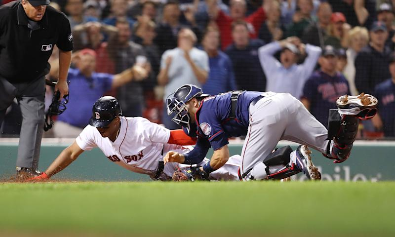 The Minnesota Twins topped the Boston Red Sox on a thrilling final out at home plate. (Getty Images)