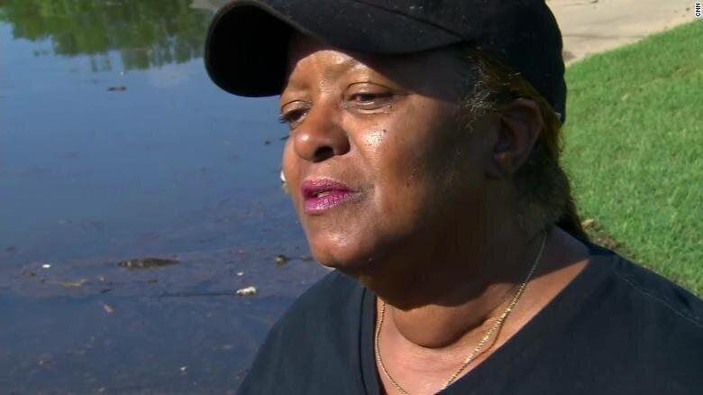 Shelia Clayton, a Hurricane Katrina survivor, is flooded out of new home in Arkansas. (Credit: CNN)
