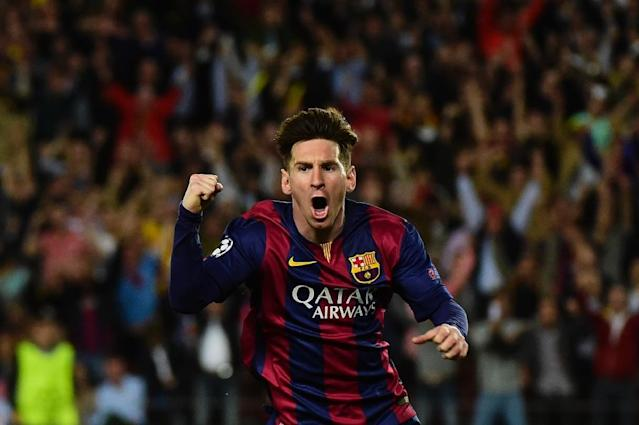 Barcelona's Argentinian forward Lionel Messi celebrates after scoring during the UEFA Champions League football match Barcelona vs Bayern Munich at the Camp Nou stadium in Barcelona on May 6, 2015 (AFP Photo/Pierre-Philippe Marcou)