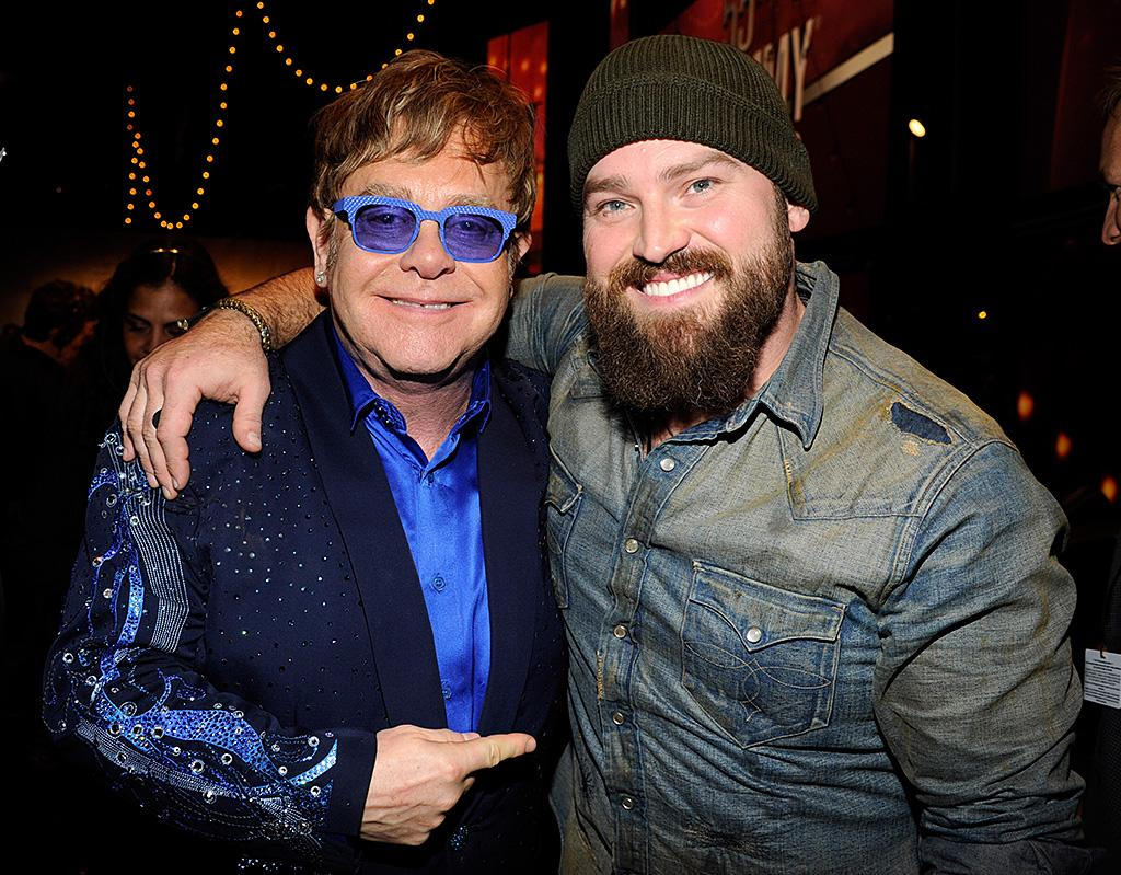 LOS ANGELES, CA - FEBRUARY 10:  Elton John and Zac Brown attend the 55th Annual GRAMMY Awards at STAPLES Center on February 10, 2013 in Los Angeles, California.  (Photo by Kevin Mazur/WireImage)