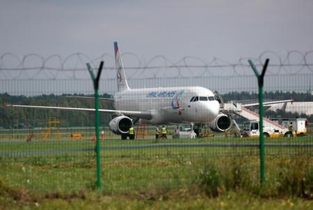 A view shows a Ural Airlines passenger plane on the tarmac of Zhukovsky International Airport in Moscow Region