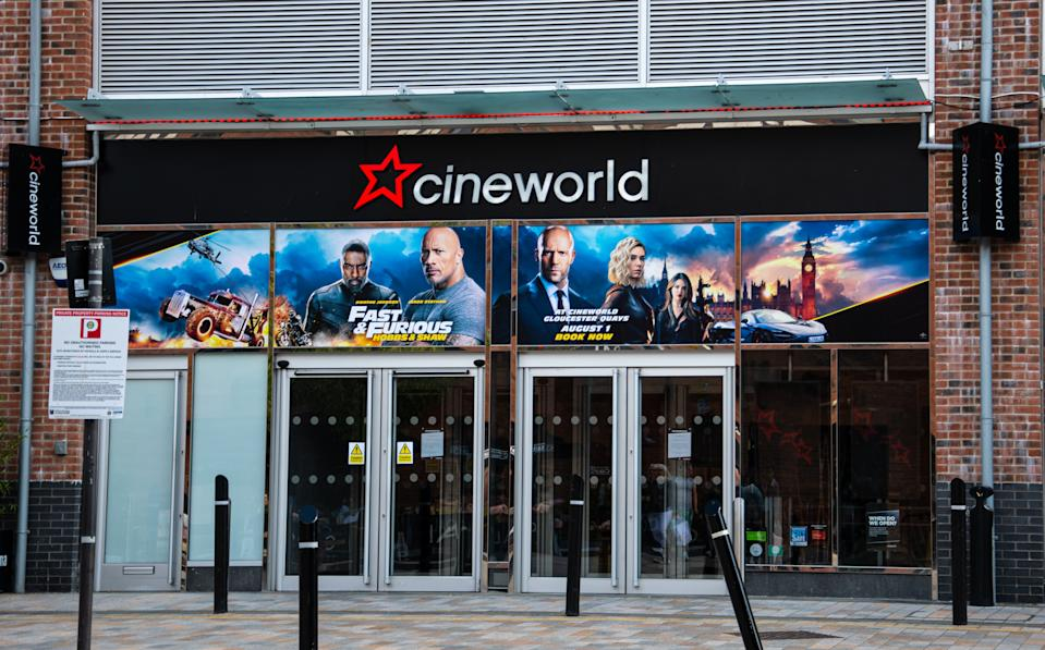 Gloucester, United Kingdom - September 08 2019:  The frontage of the Cineworld Cinema, advertising Fast and Furious, on Merchant's Street