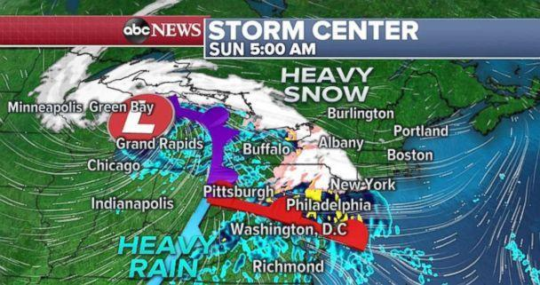 PHOTO: Heavy snow will move into Upstate New York and northern New England on Sunday. (ABC News)