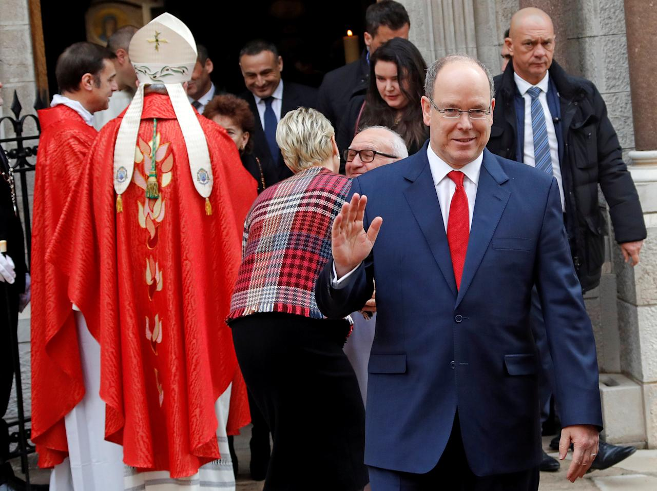 Prince Albert II of Monaco and his wife Princess Charlene leave Monaco cathedral during the traditional Sainte Devote procession in Monaco, January 27, 2018.     REUTERS/Eric Gaillard