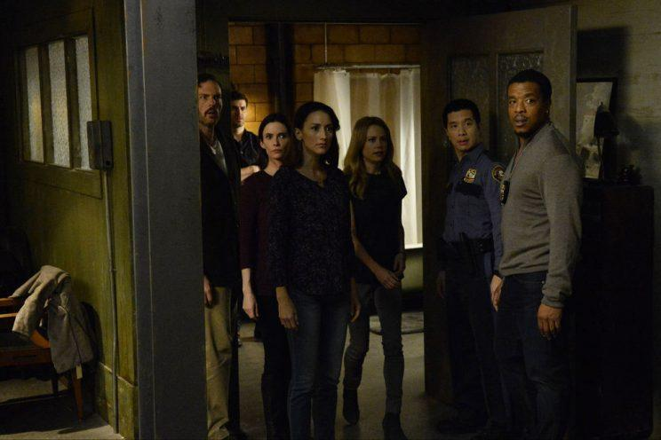 Silas Weir Mitchell as Monroe, David Giuntoli as Nick Burkhardt, Bitsie Tulloch as Eve, Bree Turner as Rosalee Calvert, Claire Coffee as Adalind Schade, Reggie Lee as Sergeant Wu, and Russell Hornsby as Hank Griffin. (Photo by: Allyson Riggs/NBC)