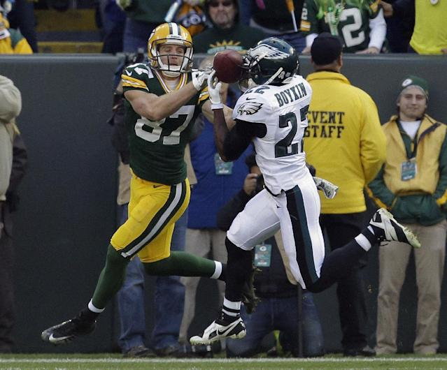 Philadelphia Eagles' Brandon Boykin intercepts a pass in front of Green Bay Packers' Jordy Nelson (87) during the first half of an NFL football game Sunday, Nov. 10, 2013, in Green Bay, Wis. (AP Photo/Mike Roemer)
