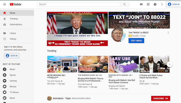 """Donald Trump has bought some of the web's most prime real estate to fundraise for his 2020 re-election campaign - apparently hoping to capitalise on two nights of Democratic debate.Campaign ads currently appear across YouTube's homepage masthead, a few hours before the site livestreams tonight's Democratic debate.""""At 9pm tonight [the debate start time] my campaign team is bringing me an updated list of my supporters,"""" Trump says in one ad. """"I hope I'll see your name on the list."""" The ad then ask supporters to send a text message to a phone number to be added to the list.Another video shows images of terrorists and migrants, followed by images of Chuck Schumer and Nancy Pelosi while a voice is saying: """"Drugs, terrorists, violent criminals and child traffickers trying to enter our country. But Nancy Pelosi and Chuck Schumer care more about the radical left than keeping us safe. The consequences? Drug deaths. Violent murder. Gang violence.""""The progressive digital agency Acronym tweeted earlier on Wednesday: """"More people will see this ad placement than will watch tonight's debate."""" YouTube offers ads on a cost-per-thousand basis, so it is unclear how much Trump spent to get this primetime spot. The Trump campaign did not respond to The Independent about how much it spent on this ad placement. Daniel Scarvalone, senior director of research and data at Bully Pulpit Interactive, told VICE News that his strategy firm, that works with Democrat clients, has spent between $500,000 and $1 million on such ad placements.There are other platforms on which people can watch tonight's debate, including, NBC, MSNBC and Telemundo."""