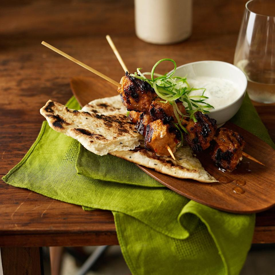 """Pork loin, marinated in ginger, garlic, cumin, lemon, mustard oil, and more, heads to the grill and makes a fantastic dinner wrapped in <a href=""""https://www.epicurious.com/recipes/food/views/naan?mbid=synd_yahoo_rss"""" rel=""""nofollow noopener"""" target=""""_blank"""" data-ylk=""""slk:naan"""" class=""""link rapid-noclick-resp"""">naan</a>. <a href=""""https://www.epicurious.com/recipes/food/views/tandoori-pork-on-the-outdoor-grill-365989?mbid=synd_yahoo_rss"""" rel=""""nofollow noopener"""" target=""""_blank"""" data-ylk=""""slk:See recipe."""" class=""""link rapid-noclick-resp"""">See recipe.</a>"""