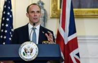 British Foreign Secretary Dominic Raab speaks at a press conference with Secretary of State Mike Pompeo at the State Department, Wednesday, Sept. 16, 2020 in Washington. (Nicholas Kamm/Pool via AP)