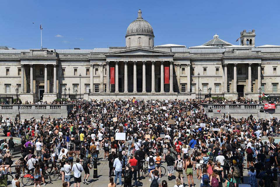 People gather in Trafalgar Square, London, to take part in a Black Lives Matter protest following the death of George Floyd in Minneapolis, US, this week which has seen a police officer charged with third-degree murder.