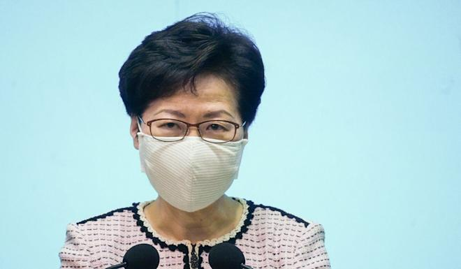 Chief Executive Carrie Lam defended the arrest of activist Tam Tak-chi during a press appearance on Tuesday. Photo: Sam Tsang