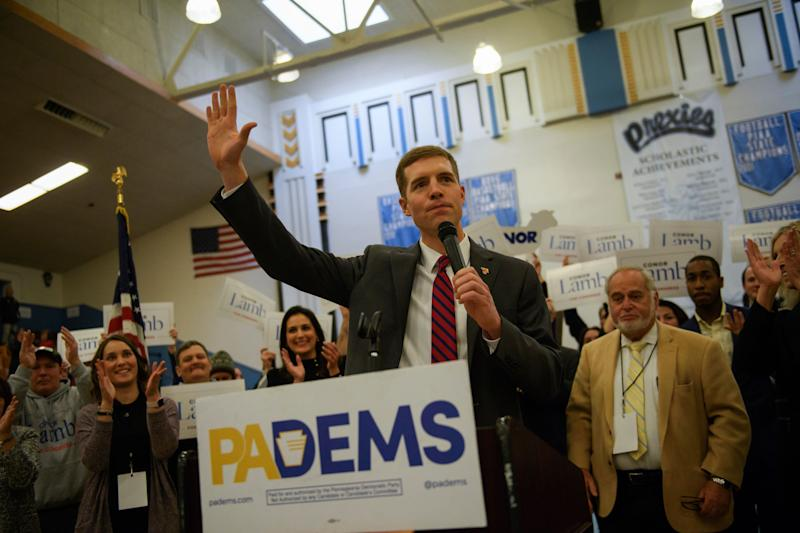 Conor Lamb reacts to winning the Democratic nomination for the 18th District seat inside Washington High School gymnasium, where the nomination convention was being held in Washington, Pennsylvania, on Nov. 19.