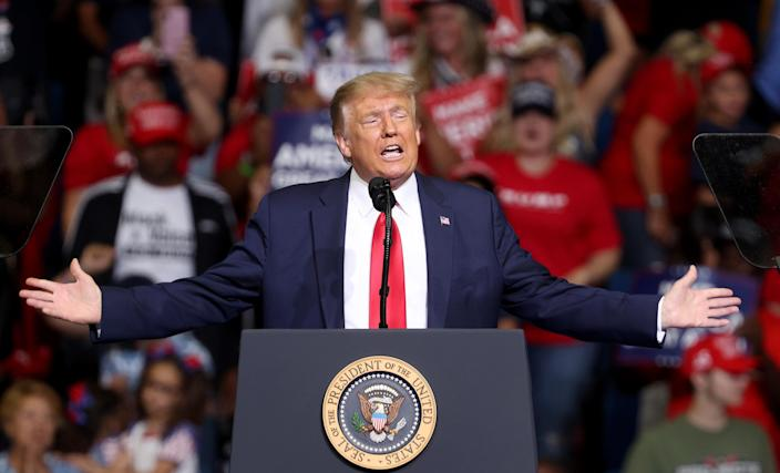 President Trump speaks in Tulsa, Okla., on Saturday. (Win McNamee/Getty Images)