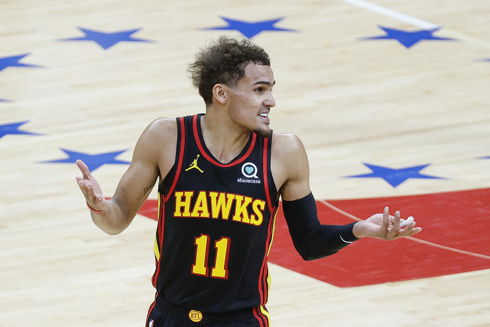 Hawks star Trae Young was an offensive force in Game 1 against the Sixers. (Tim Nwachukwu/Getty Images)