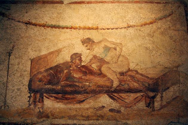 Picture taken 26 October 2006 of an erotic fresco in Pompeii. Art officials have restored an ancient brothel in the archaeological complex of Pompeii, believed to be the most popular one in the ancient Roman city.