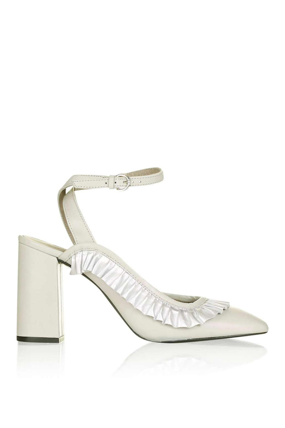 "<p>Gosh frill-detailed heels, $135, <a href=""http://us.topshop.com/en/tsus/product/gosh-frill-detailed-heel-shoes-5718397"" rel=""nofollow noopener"" target=""_blank"" data-ylk=""slk:Topshop"" class=""link rapid-noclick-resp"">Topshop</a></p>"