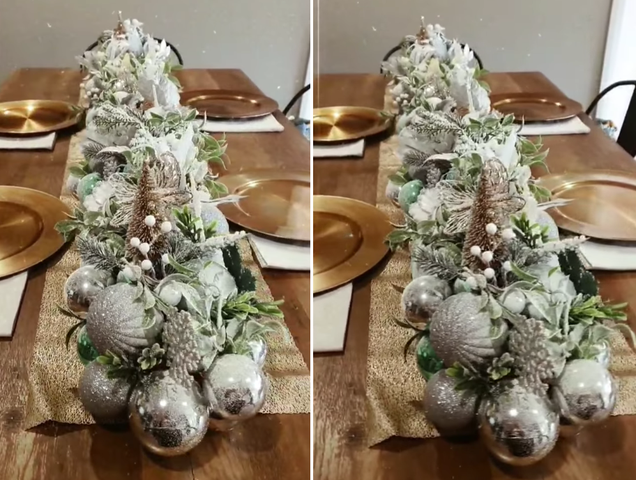 Side by side images of Christmas centre piece DIY
