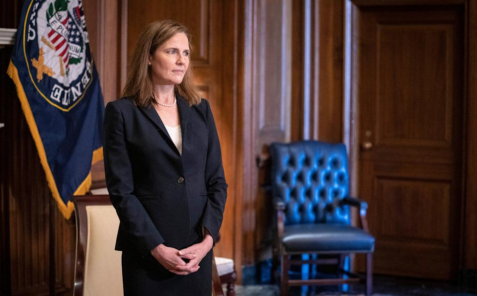 Supreme Court nominee Judge Amy Coney Barrett on Oct. 21 in Washington, D.C. President Donald Trump nominated Barrett to replace Justice Ruth Bader Ginsburg after her death. (Photo: Sarah Silbiger — Pool/Getty Images)