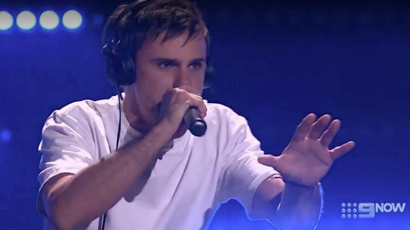Auditionee Sam Perry put his own EDM/techno spin on his audition on The Voice. Source: Nine