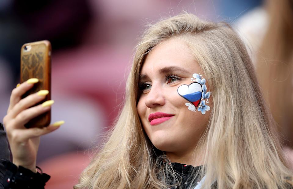 <p>A Russia fan in the stands during the FIFA World Cup 2018, Group A match at the Luzhniki Stadium, Moscow. (Photo by Adam Davy/PA Images via Getty Images) </p>