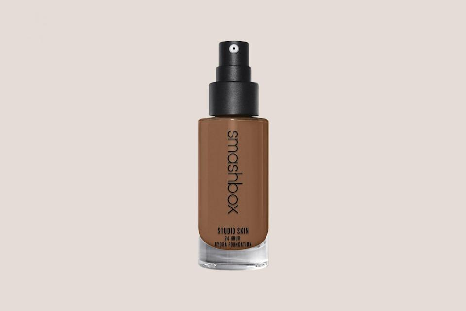 """<p>""""This oil-free formula provides lasting medium-to-full coverage, leaving the skin with a natural matte finish,"""" says Dr. Garshick. But don't confuse mattifying for dehydrating—packed with hyaluronic acid and breathable polymers, this foundation won't ever make your complexion feel tight.</p> <p><strong><em>Shop Now: </em></strong><em>Smashbox Studio Skin 24 Hour Wear Oil-Free Hydra Foundation, $38, <a href=""""https://click.linksynergy.com/deeplink?id=93xLBvPhAeE&mid=3184&murl=https%3A%2F%2Fwww.macys.com%2Fshop%2Fproduct%2Fsmashbox-studio-skin-24-hour-oil-free-hydra-foundation%3FID%3D725980&u1=MSL13ExpertApprovedFoundationsforDrySkinrhaarsBeaGal7986001202009I"""" rel=""""nofollow noopener"""" target=""""_blank"""" data-ylk=""""slk:macys.com"""" class=""""link rapid-noclick-resp"""">macys.com</a></em><em>.</em></p>"""