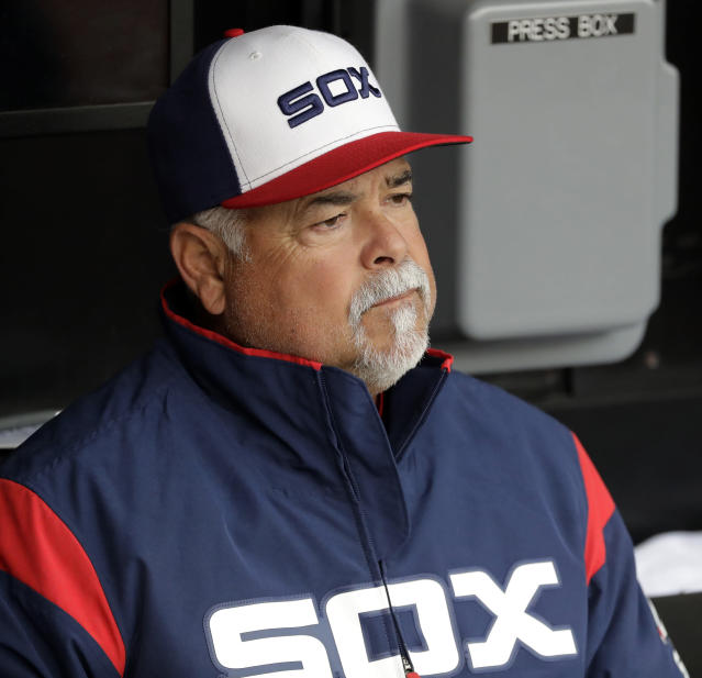 Chicago White Sox manager Rick Renteria looks to the field before a baseball game against the Seattle Mariners in Chicago, Sunday, April 7, 2019. (AP Photo/Nam Y. Huh)