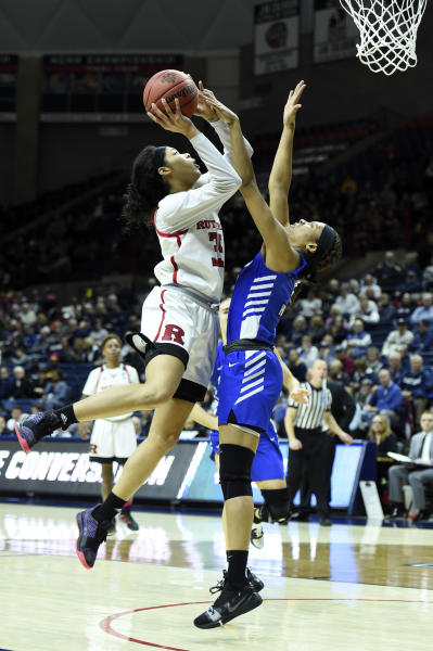 Rutgers' Stasha Carey (35) shoots over Buffalo's Summer Hemphill (0) during a first-round game in the NCAA women's college basketball tournament, Friday, March 22, 2019, in Storrs, Conn. (AP Photo/Stephen Dunn)