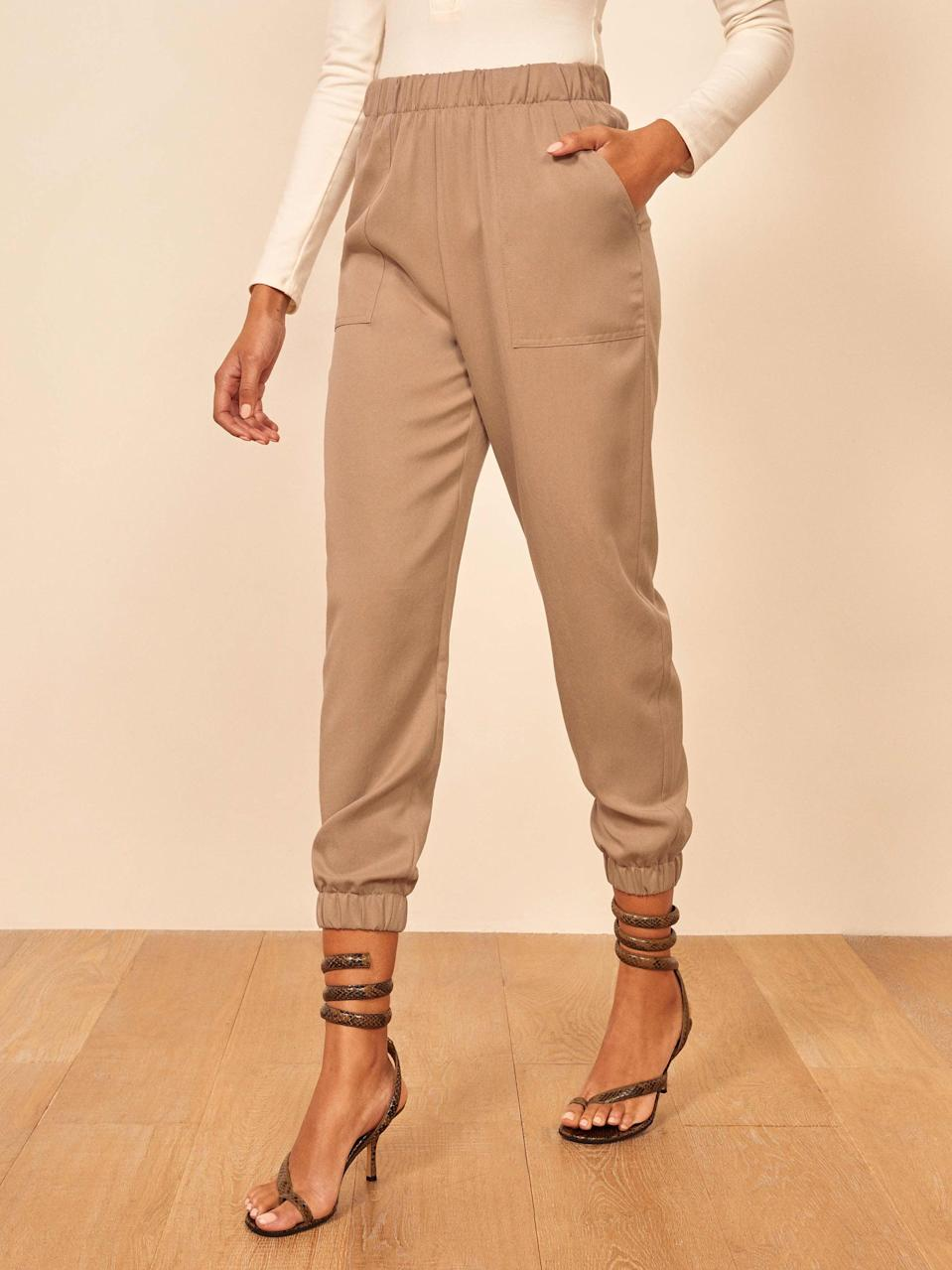 "<p>The <a href=""https://www.popsugar.com/buy/Reformation-Montana-Pant-542849?p_name=Reformation%20Montana%20Pant&retailer=thereformation.com&pid=542849&price=178&evar1=fab%3Aus&evar9=47477665&evar98=https%3A%2F%2Fwww.popsugar.com%2Ffashion%2Fphoto-gallery%2F47477665%2Fimage%2F47477670%2FReformation-Montana-Pant&list1=pants%2Ctrousers%2Cfashion%20shopping%2Ccomfortable%20clothes&prop13=api&pdata=1"" class=""link rapid-noclick-resp"" rel=""nofollow noopener"" target=""_blank"" data-ylk=""slk:Reformation Montana Pant"">Reformation Montana Pant</a> ($178) also comes in black.</p>"