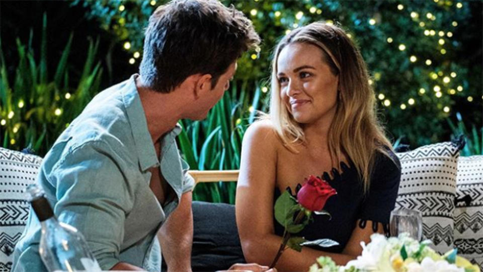 Abbie and Matt Agnew pictured on The Bachelor Australia