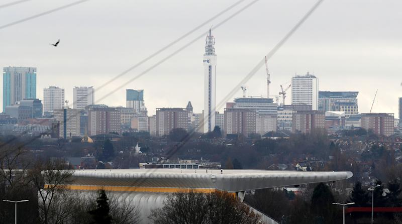 The Alexander Athletics Stadium is seen in front of the city after the announcement that Birmingham will host the 2022 Commonwealth Games in Birmingham, Britain December 21, 2017. REUTERS/Darren Staples