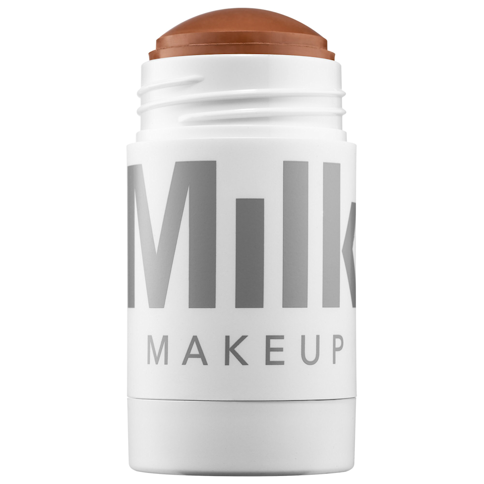 """A stick bronzer makes application a breeze, and Milk really hit it out of the park with this chubby twist-up. Thanks to the bigger size, you can quickly add warmth to your cheeks, nose, and forehead, or use a brush or sponge for more detailed shading. It blends in in seconds, but stays put all day. Plus, it's the perfect neutral tone. $28, Milk Makeup. <a href=""""https://shop-links.co/1713088208090113913"""" rel=""""nofollow noopener"""" target=""""_blank"""" data-ylk=""""slk:Get it now!"""" class=""""link rapid-noclick-resp"""">Get it now!</a>"""