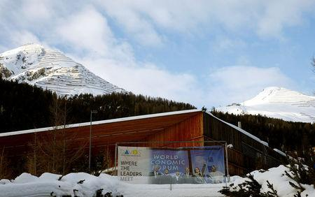 A banner of the World Economic Forum (WEF) is seen in front of the congress center in the Swiss mountain resort of Davos, Switzerland, January 11, 2018  REUTERS/Arnd Wiegmann