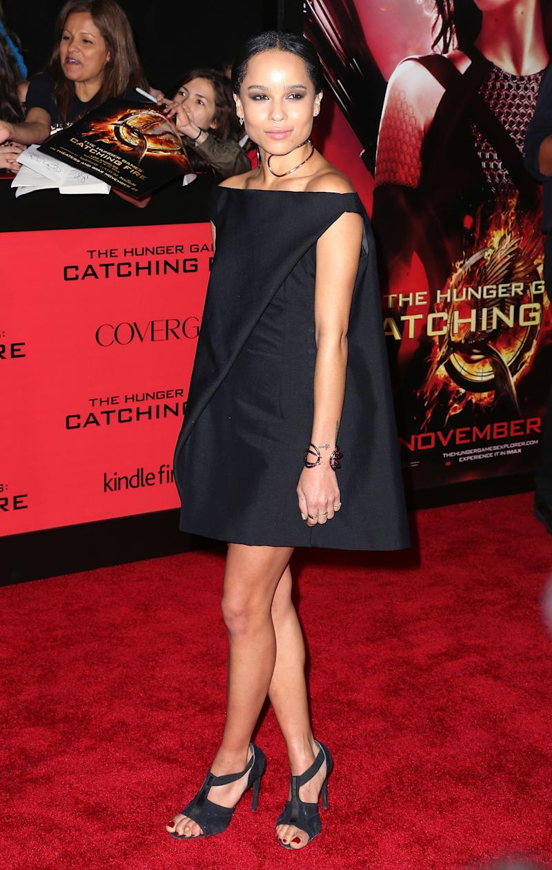 Kravitz attends the premiere of Lionsgate's The Hunger Games: Catching Fire at Nokia Theatre L.A. Live on November 18, 2013.