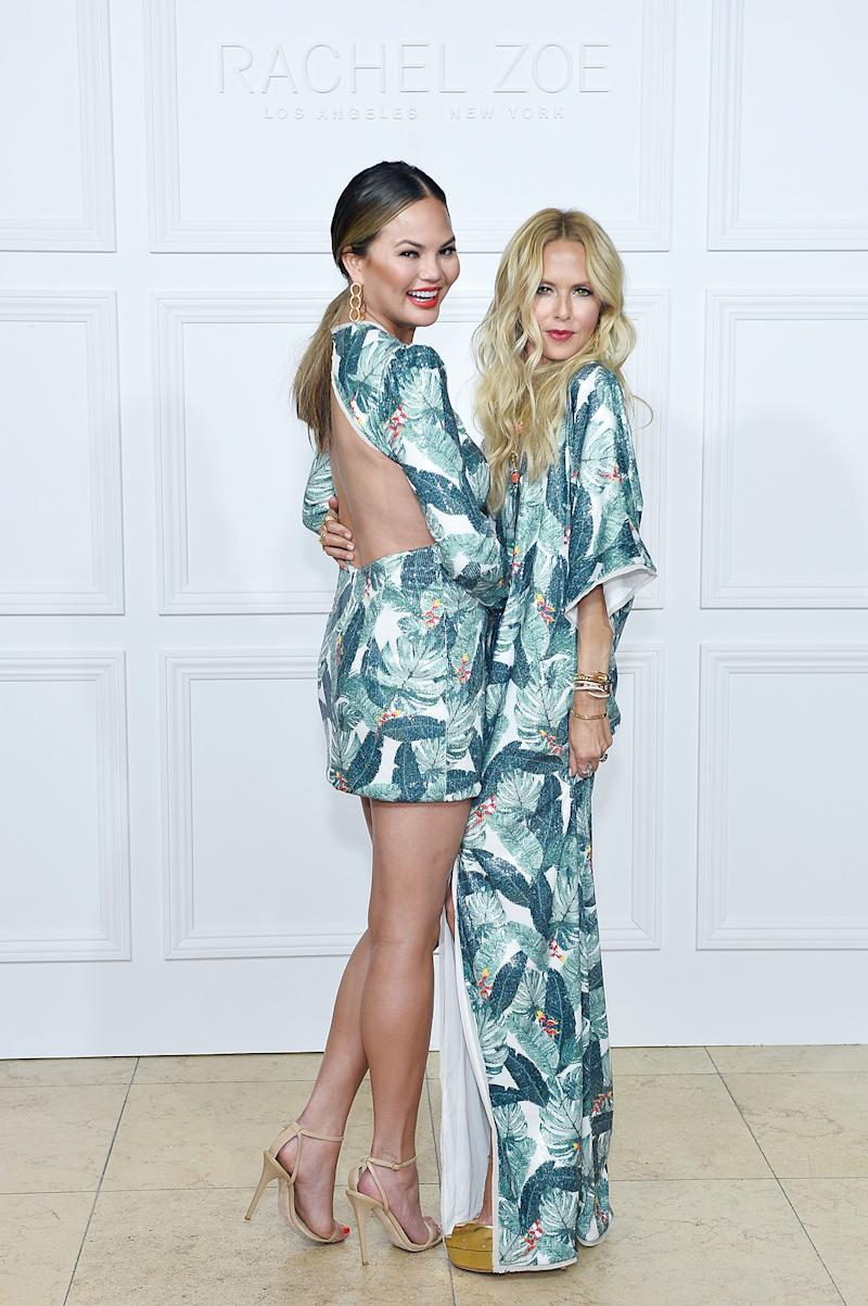 Chrissy Teigen and Rachel Zoe in matching outfits