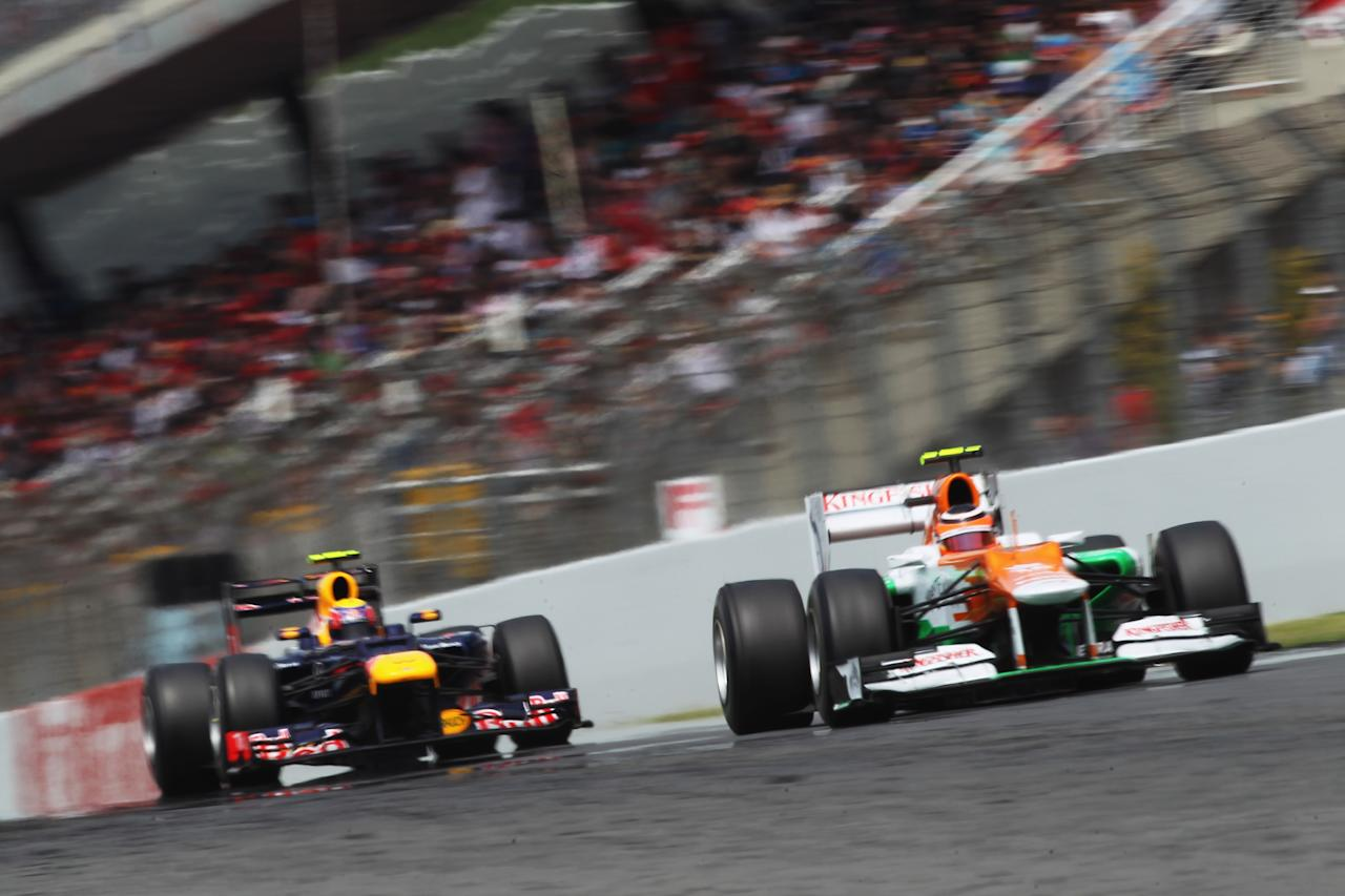 BARCELONA, SPAIN - MAY 13:  Nico Hulkenberg of Germany and Force India drives during the Spanish Formula One Grand Prix at the Circuit de Catalunya on May 13, 2012 in Barcelona, Spain.  (Photo by Mark Thompson/Getty Images)