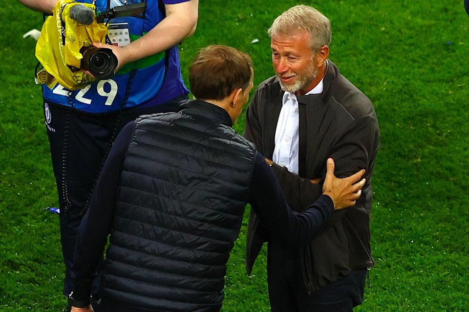 <p>Thomas Tuchel met Roman Abramovich for the first time on the pitch after Chelsea's triumph in Porto</p> (Getty Images)