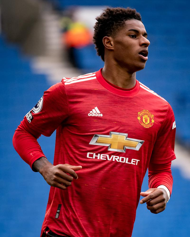 BRIGHTON, ENGLAND - SEPTEMBER 26: Marcus Rashford of Manchester United in action during the Premier League match between Brighton & Hove Albion and Manchester United at American Express Community Stadium on September 26, 2020 in Brighton, England. Sporting stadiums around the UK remain under strict restrictions due to the Coronavirus Pandemic as Government social distancing laws prohibit fans inside venues resulting in games being played behind closed doors. (Photo by Ash Donelon/Manchester United via Getty Images)