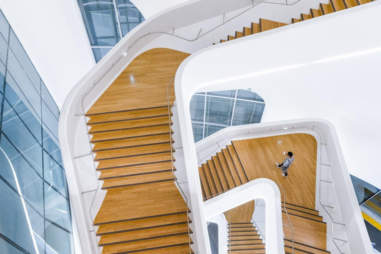 Designed by Zaha Hadid (in collaboration with the South Korean firm Samoo), the staircase within Seoul's Dongdaemun Design Plaza is a dizzying display of the late architects work.