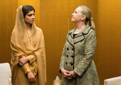 "Clinton told reporters she had ""a broad-ranging discussion"" with Hina Rabbani Khar"