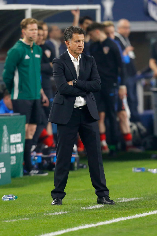 In this image taken on Tuesday, March 27, 2018 Mexico head coach Juan Carlos Osorio watches play during the second half of an international friendly soccer match against Croatia in Arlington, Texas, Tuesday, March 27, 2018. (AP Photo/Roger Steinman)