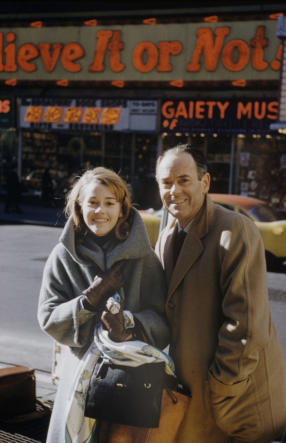<p>On the same day, Fonda was photographed with her father Henry outside of <em>Ripley's Believe It or Not!</em> in Times Square, New York.</p>