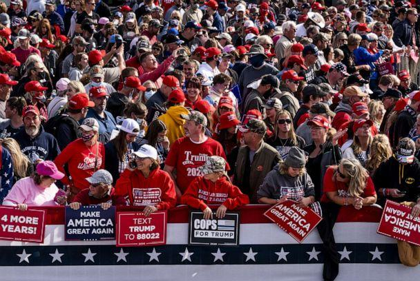 PHOTO: Supporters gather before President Donald Trump arrives for a rally at the Bemidji Regional Airport on Sept. 18, 2020, in Bemidji, Minn. (Stephen Maturen/Getty Images)