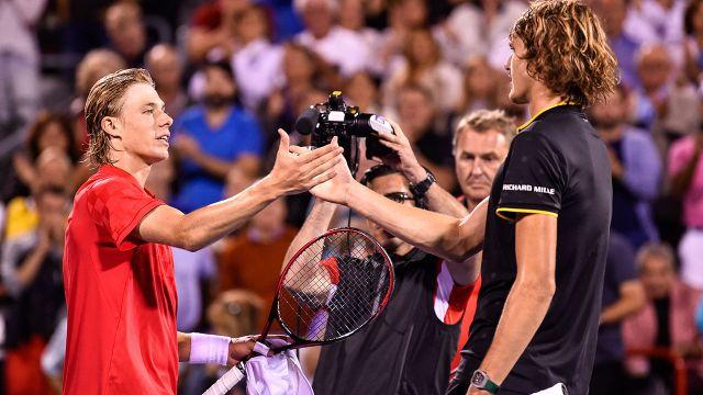 Shapovalov and Zverev after their match. Image: Getty