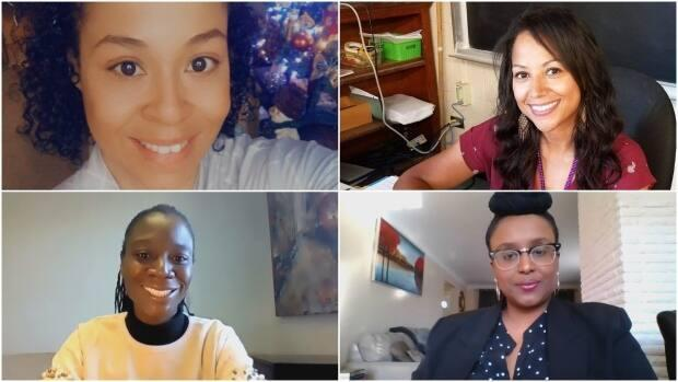 Natalie Browning-Morgan, top left, Shantelle Browning-Morgan, top right, Venus Olla, bottom left, and Amina Abdulle, bottom right are the four founders of the public board's new Black Staff Equity Alliance group.  (Submitted by Amina Abdulle - image credit)