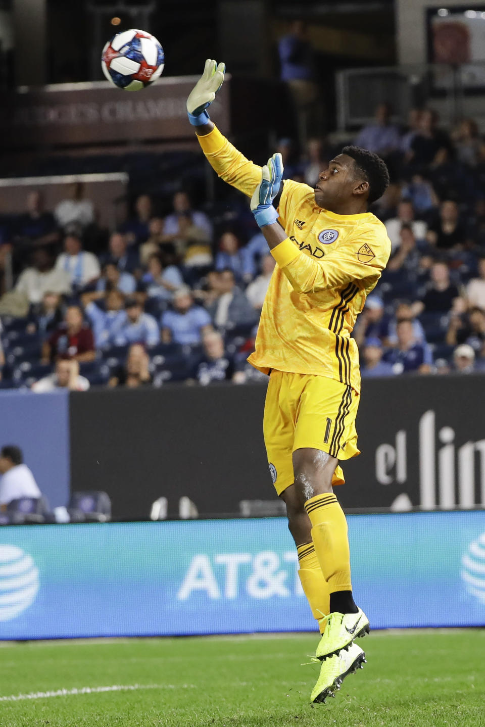 New York City FC goalkeeper Sean Johnson deflects a shot on the goal during the second half of an MLS soccer match against Toronto FC Wednesday, Sept. 11, 2019, in New York. The game ended in a 1-1 draw. (AP Photo/Frank Franklin II)
